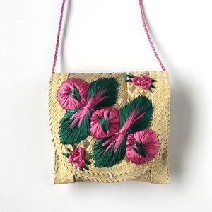 Woven Straw Seagrass Boho Floral Pink Purse Small